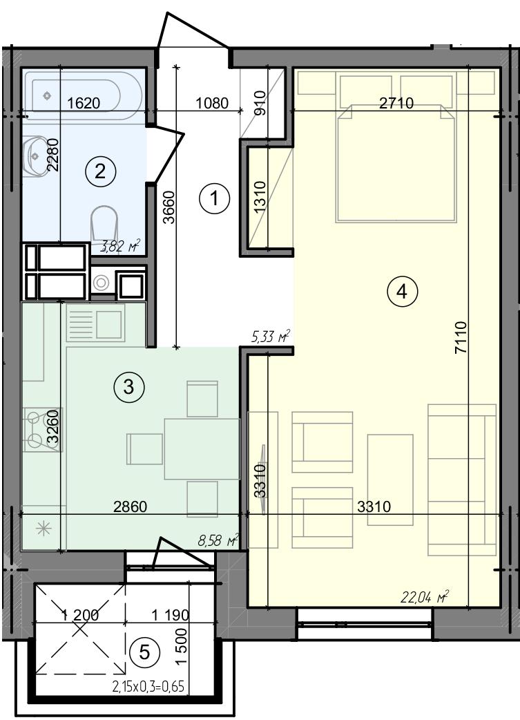 Купити Однокімнатна квартира 40,42 кв.м., тип 1.8, будинок 3 секція 3 в Києві Голосіївський район
