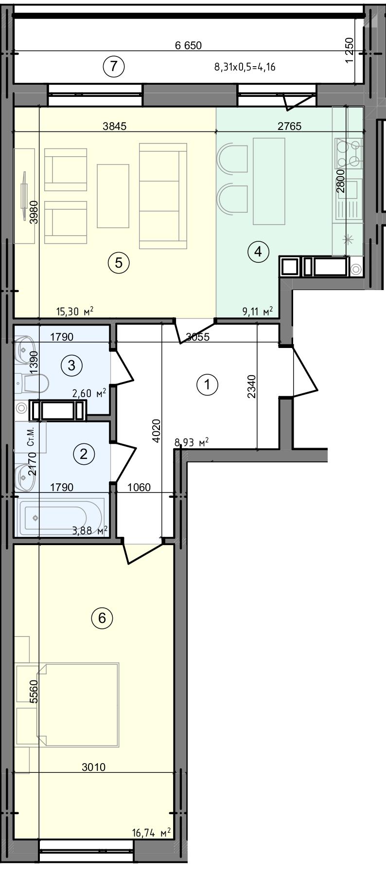 Купити Двокімнатна квартира 60,72 кв.м., тип 2.1, будинок 3, секція 3 в Києві Голосіївський район