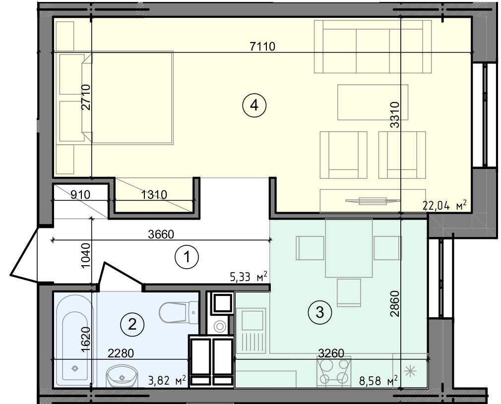 Купить Однокомнатная квартира 39,77 кв.м., тип 1.1, дом 3 секция 4 в Киеве Голосеевский район