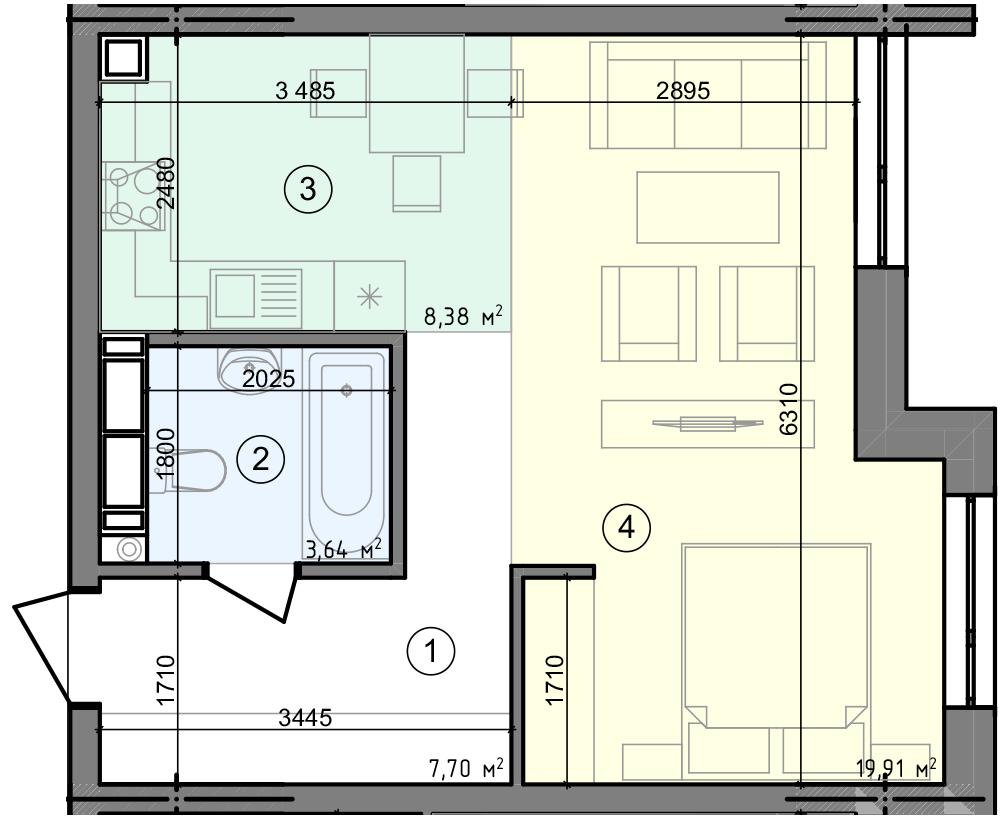 Купити Однокімнатна квартира 39,63 кв.м., тип 1.2, будинок 3 секція 4 в Києві Голосіївський район