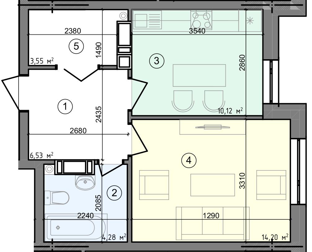 Купити Однокімнатна квартира 38,68 кв.м., тип 1.3, будинок 3 секція 4 в Києві Голосіївський район