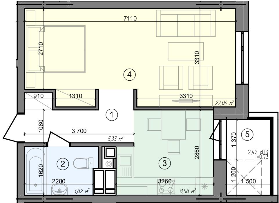 Купити Однокімнатна квартира 40,50 кв.м., тип 1.4, будинок 3 секція 4 в Києві Голосіївський район