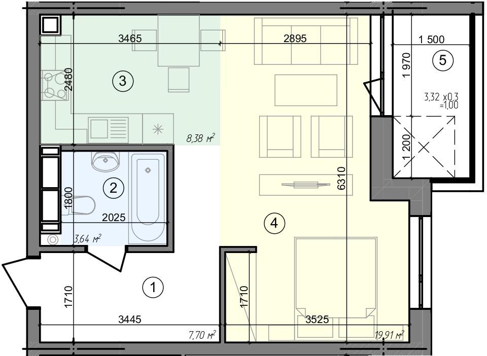 Купити Однокімнатна квартира 40,63 кв.м., тип 1.5, будинок 3 секція 4 в Києві Голосіївський район