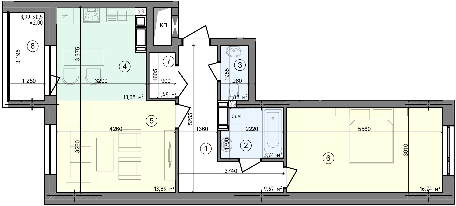 Купити Двокімнатна квартира 59,48 кв.м., тип 2.2, будинок 3, секція 4 в Києві Голосіївський район