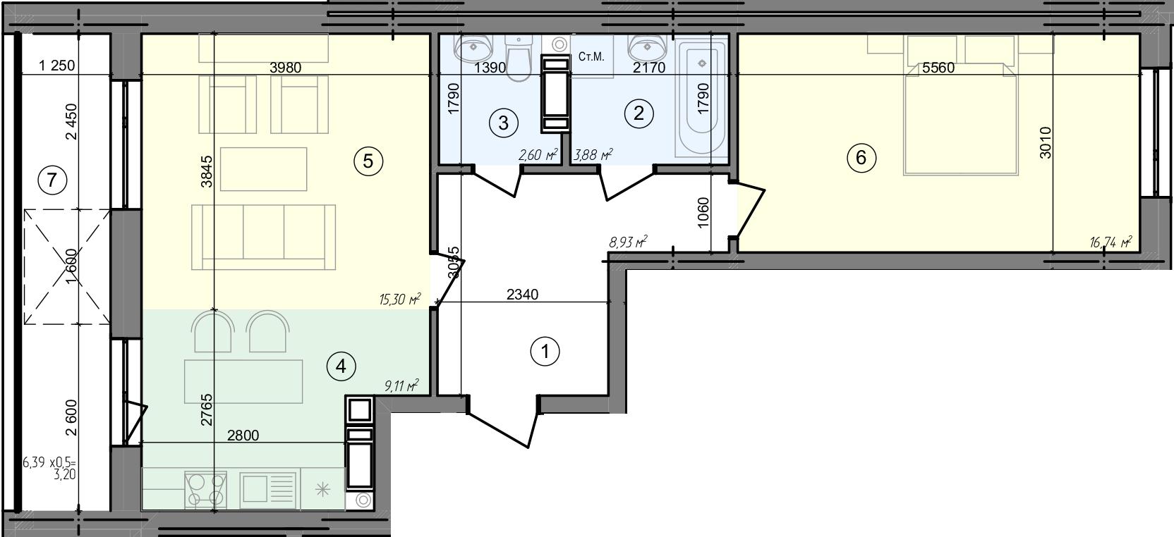 Купити Двокімнатна квартира 59,76 кв.м., тип 2.3, будинок 3, секція 4 в Києві Голосіївський район