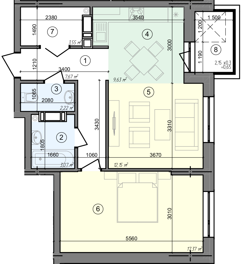 Купити Двокімнатна квартира 56,31 кв.м., тип 2.4, будинок 3, секція 4 в Києві Голосіївський район
