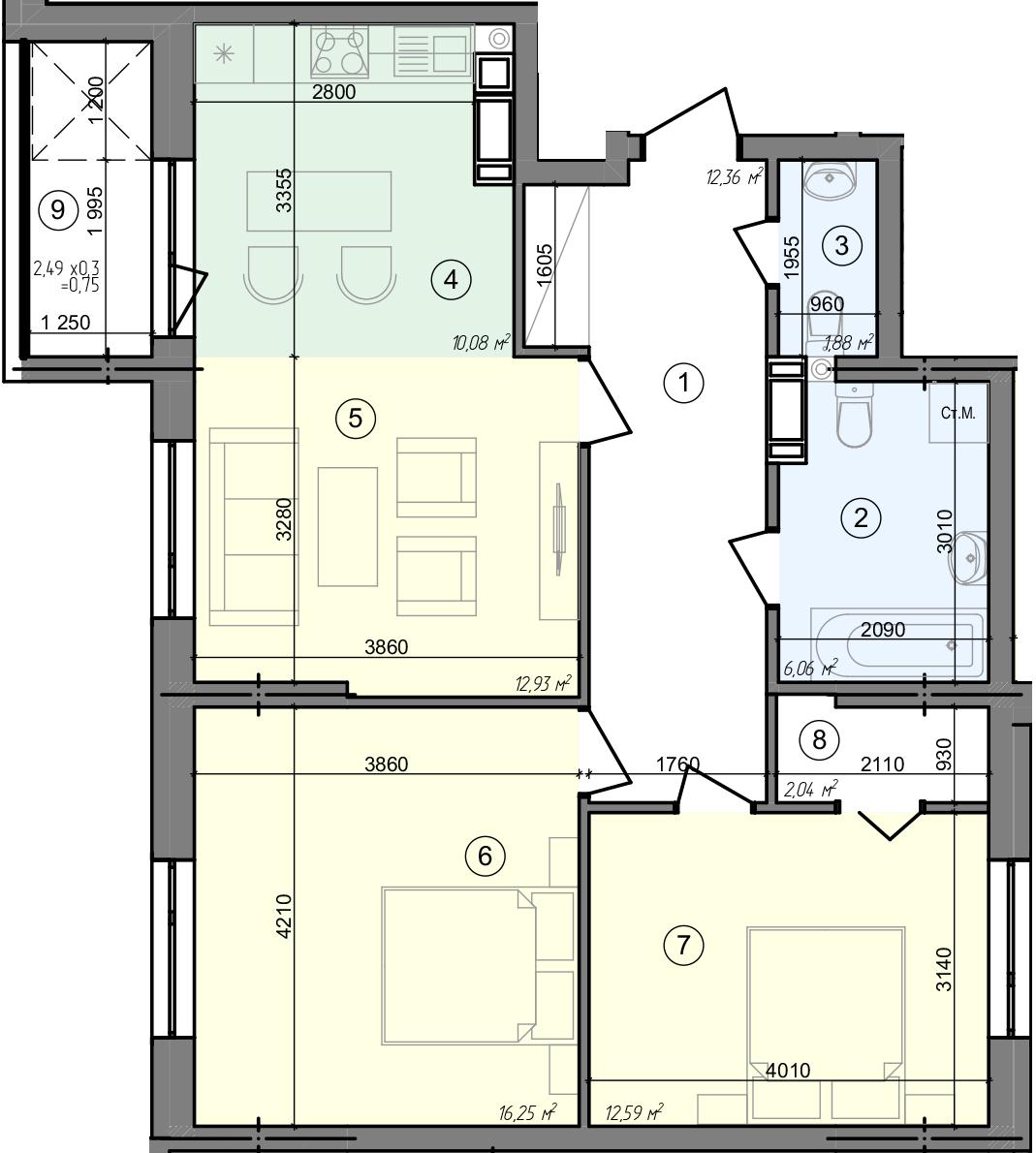 Купити Трикімнатна квартира 74,94 кв.м., тип 3.1, будинок 3, секція 4 в Києві Голосіївський район
