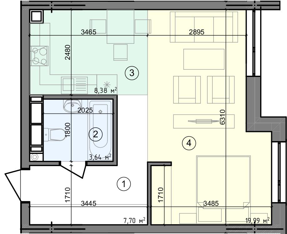 Купить Однокомнатная квартира 39,71 кв.м., тип 1.2, дом 3 секция5 в Киеве Голосеевский район