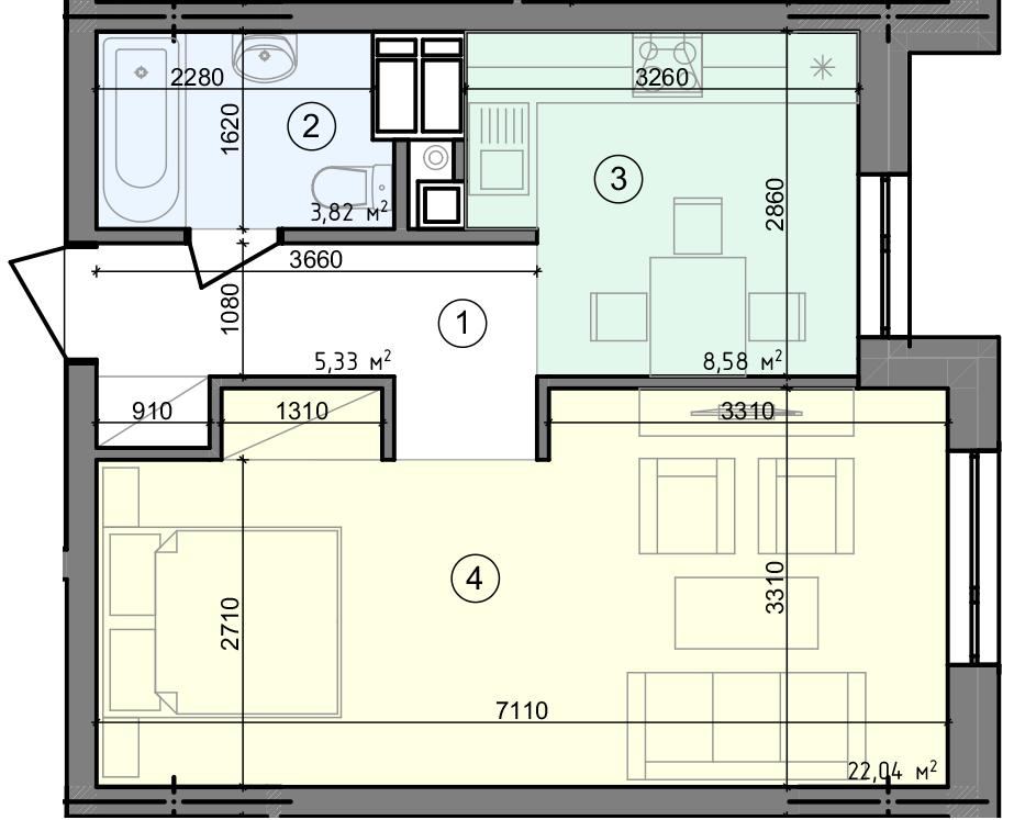 Купить Однокомнатная квартира 39,77 кв.м., тип 1.3, дом 3 секция 5 в Киеве Голосеевский район
