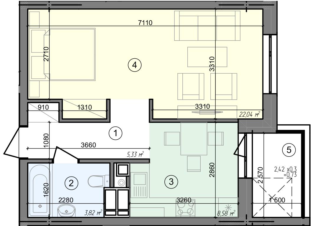 Купить Однокомнатная квартира 40,50 кв.м., тип 1.4, дом 3 секция 5 в Киеве Голосеевский район