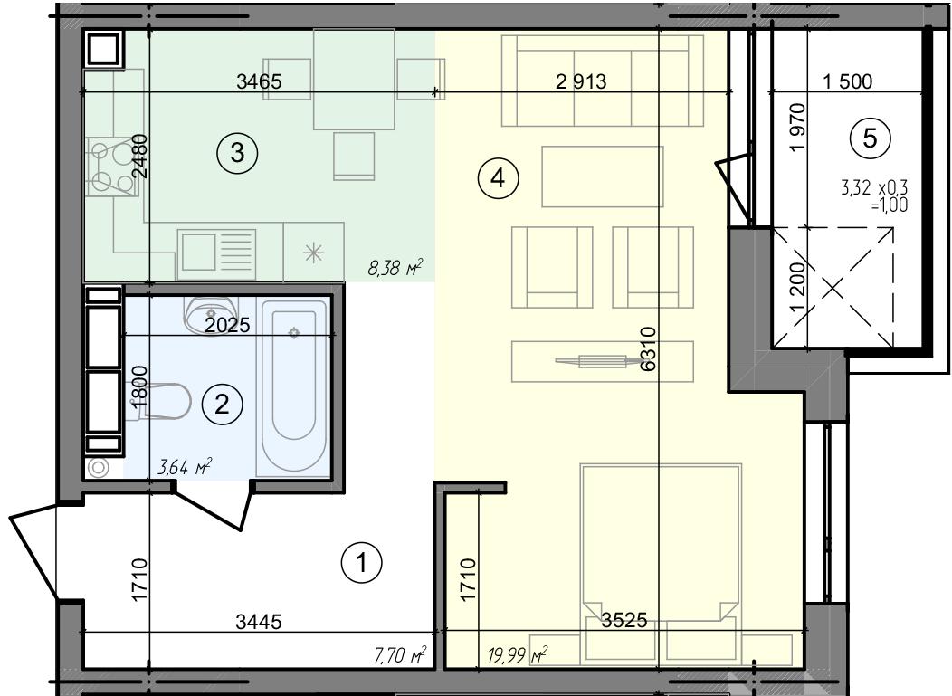 Купити Однокімнатна квартира 40,71 кв.м., тип 1.5, будинок 3 секція 5 в Києві Голосіївський район