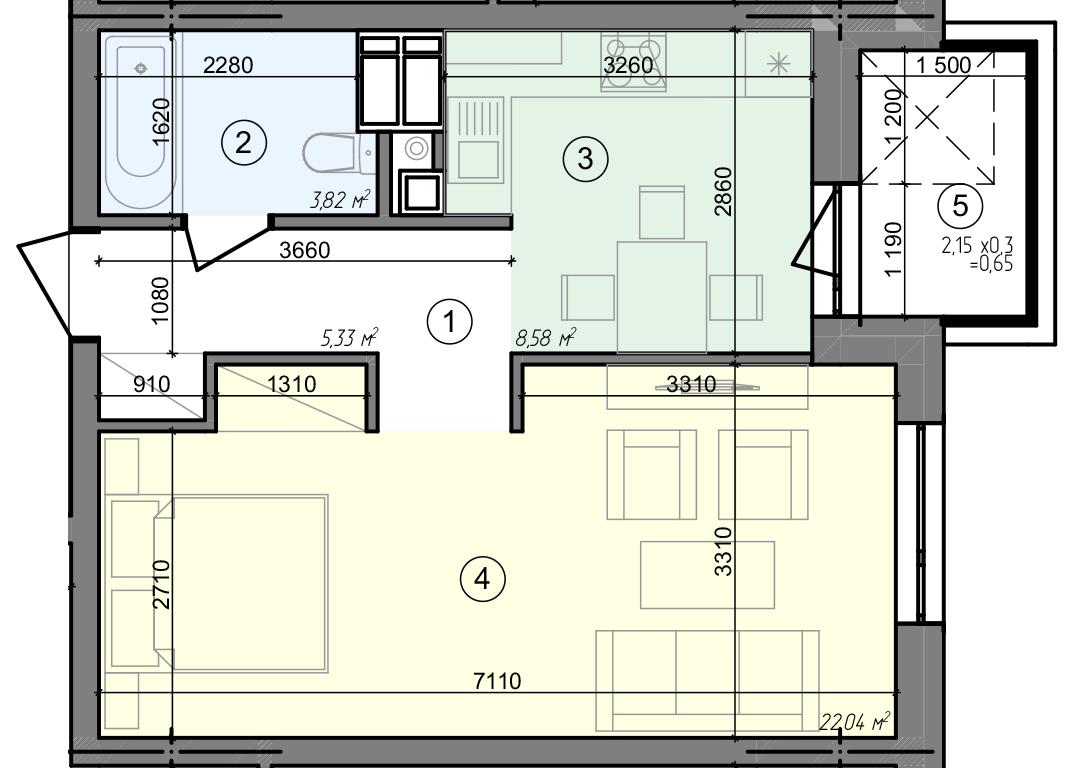 Купити Однокімнатна квартира 40,42 кв.м., тип 1.6, будинок 3 секція 5 в Києві Голосіївський район