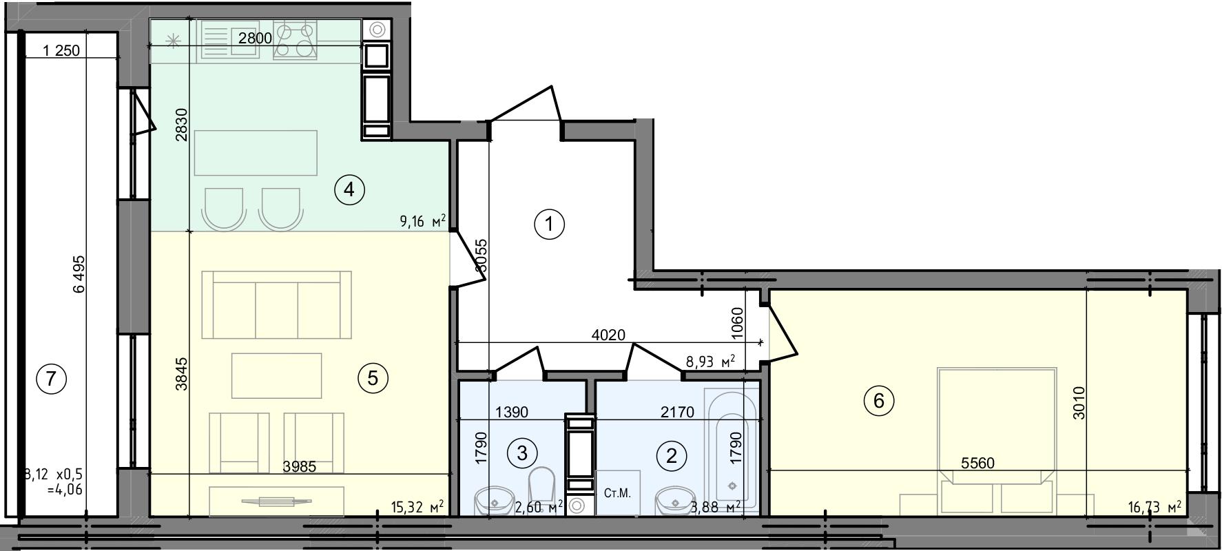 Купити Двокімнатна квартира 60,68 кв.м., тип 2.1, будинок 3, секція 5 в Києві Голосіївський район