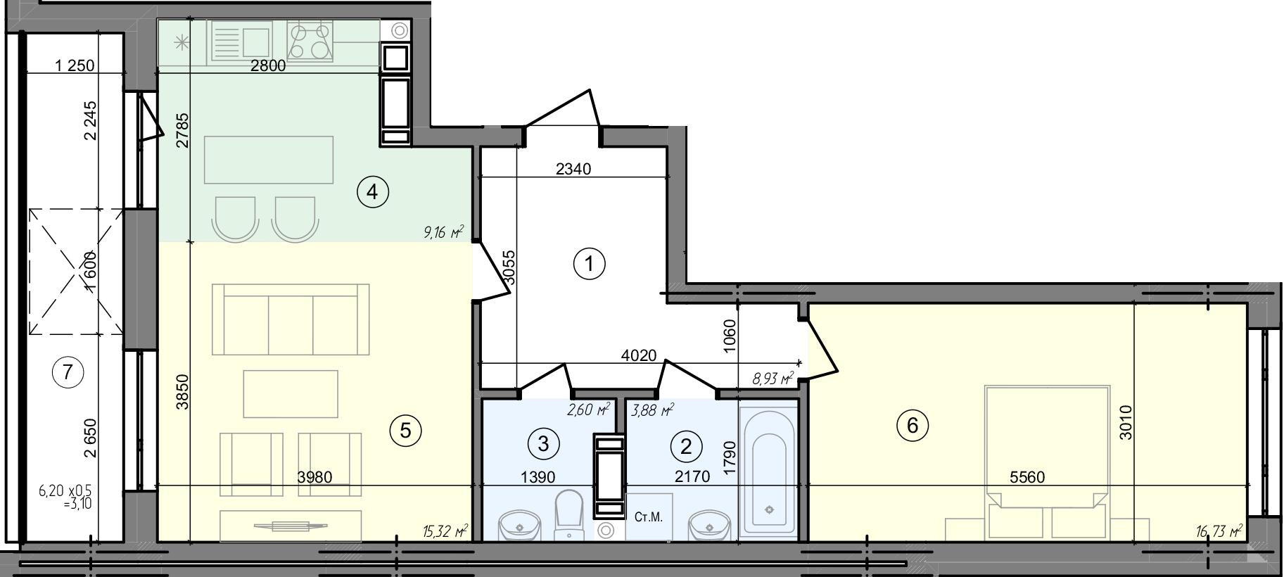 Купити Двокімнатна квартира 59,72 кв.м., тип 2.2, будинок 3, секція 5 в Києві Голосіївський район