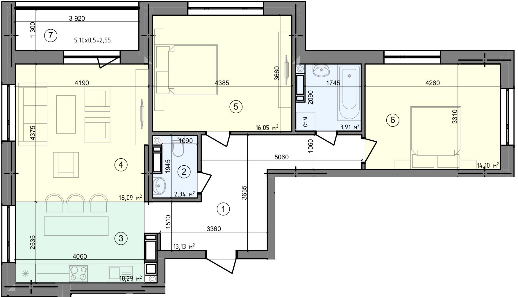 Купить Трехкомнатная квартира 80,46 кв.м., тип 3.1, дом 3, секция 4 в Киеве Голосеевский район