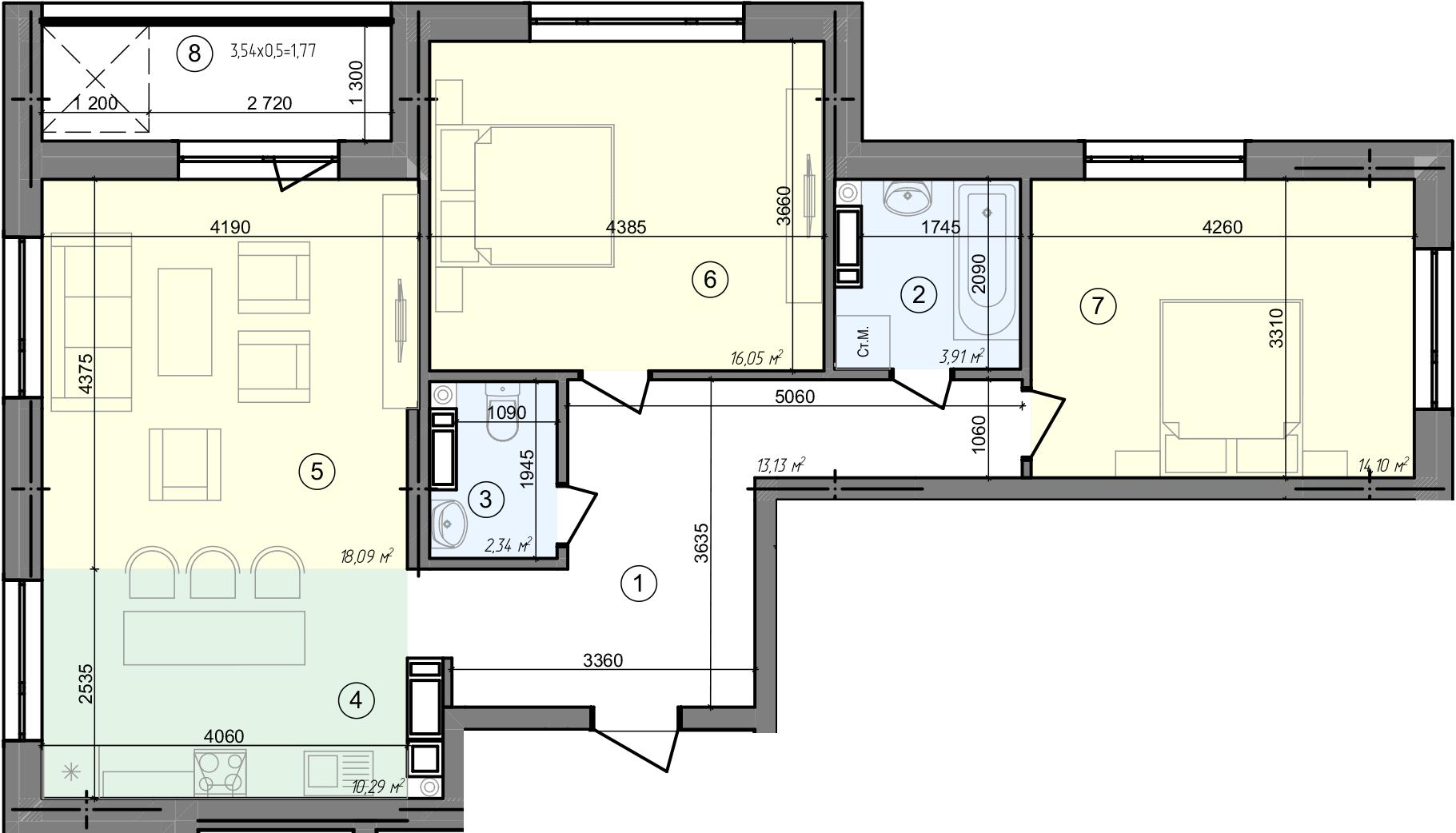 Купити Трикімнатна квартира 79,68 кв.м., тип 3.2, будинок 3, секція 5 в Києві Голосіївський район