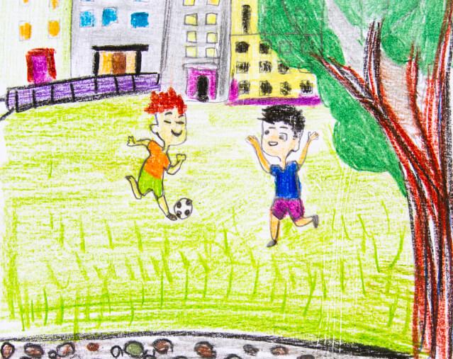 - Во дворе много детей, мы будем играть вместе на площадках